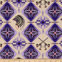 Native Spirit Headdress & Pipes Purple Fabric