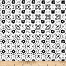 Fade to Black Squares and Stars White Fabric