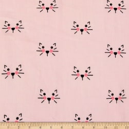 Riley Blake Double Gauze Cat Pink Fabric