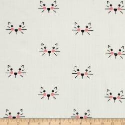 Riley Blake Double Gauze Cat White Fabric