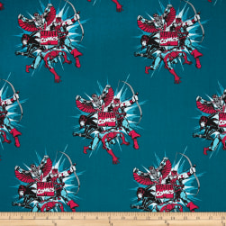 Marvel Comics Dot Burst Dark Teal Fabric