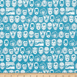 Marvel Comics Character Heads Blue Fabric