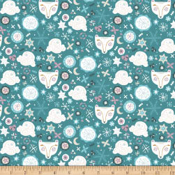 Snowfall Bear Faces Teal Fabric