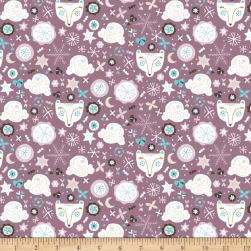 Snowfall Bear Faces Dark Lilac Fabric