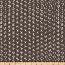 Snowfall Snowflakes Dark Brown Fabric