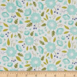 Meadow Wildflowers Mint Fabric