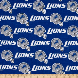 NFL Cotton Broadcloth Detroit Lions Dark Blue/White/Grey Fabric