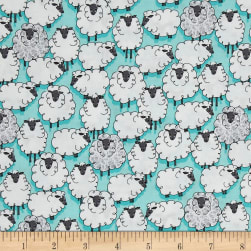 Michael Miller Eyes On Ewe Sheepish Aqua Fabric