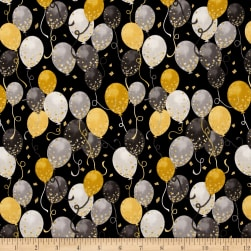 It's My Party Metallic Balloons Antique/Black Gold Fabric