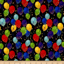 It's My Party Metallic Balloons Rainbow Gold Fabric