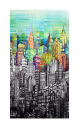 Skylines Digital Print Cityscape Prism Fabric