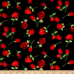 Timeless Treasures Glamour Tossed Rose Buds Black Fabric
