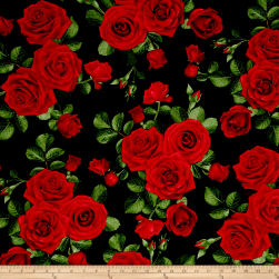Timeless Treasures Glamour Spaced Roses Black Fabric