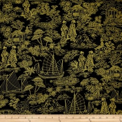 Timeless Treasures Metallic Zen Oasis Geisha Scenic Toile Black
