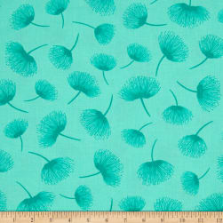 Timeless Treasures Crafty Gemini Dominicana Tossed Dandelions Aqua