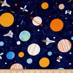 Timeless Treasures Astronauts Planets Navy