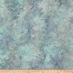 Malam Batiks Packed Petals Light Gray/Teal Fabric