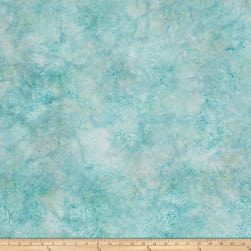 Malam Batiks Floral Damask Light Teal Fabric