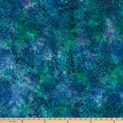 Malam Batiks Squiggle Wave Teal Purple Fabric