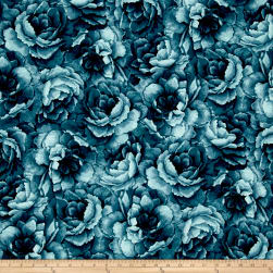Belleflower Large Tonal Floral Teal Fabric