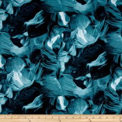 Cayenne Horse Mane Abstract Turquoise Fabric