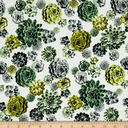 Agave Tossed Succulents Chartreuse Fabric