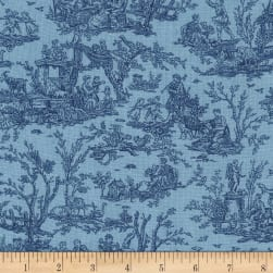 Timeless Treasures True Blue Scenic Toile Blue
