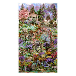 Timeless Treasures Flower Market Scenic Double Border Garden Fabric