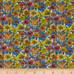 Liberty Fabrics Scotty's Tiger Lawn Blue/Coral Fabric