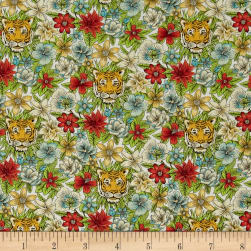Liberty Fabrics Scotty's Tiger Lawn Green/Coral Fabric