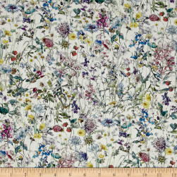 Liberty Fabrics Wild Flowers Lawn White/Lavender Fabric