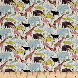 Liberty Fabrics Queue For The Zoo Lawn White/Blue/Multi