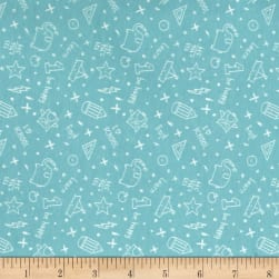 Avalana Jersey Knit School Motifs Aqua Fabric