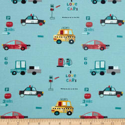 Avalana Jersey Knit Vehicles Turquoise Fabric