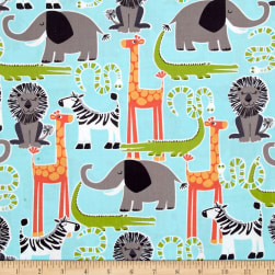 Michael Miller Safari Friends Safari Friends Aqua Fabric