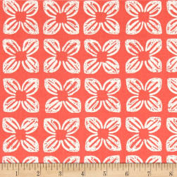 Michael Miller Seedlings 2 Block Flower Coral Fabric