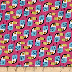 Kaufman Little Senoritas Toucans Pink Fabric