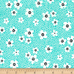 Kaufman Playing With Shadows Flowers Turquoise Fabric