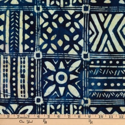 Kaufman Artisan Batiks Totally Tropical Boxes Indigo Fabric