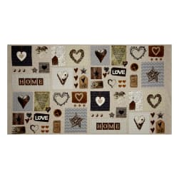 "Cosy Home Love, Heart, and Home 24"" Panel Beige"