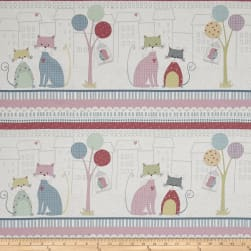 Down Town Kitty Sitting Cat Scenic White Fabric