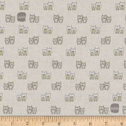 Woodie Winterland Sitting Owls Beige Fabric