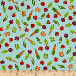 Farm Friends Apples and Carrots Aqua Fabric
