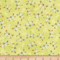 Rainbow Seeds Drangonflies Allover Green Fabric