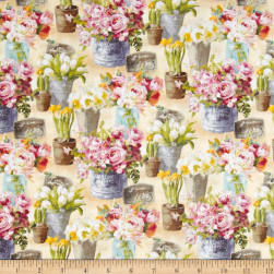 Le Cafe Floral Allover Tan Fabric