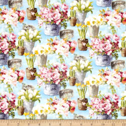 Le Cafe Floral Allover Blue Fabric