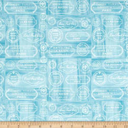 Le Cafe Labels Blue Fabric