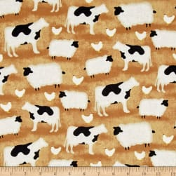 The Way Home Animals Allover Brown Fabric