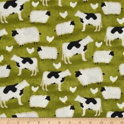 The Way Home Animals Allover Green Fabric