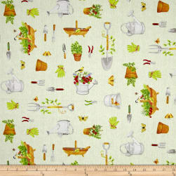 From the Garden Garden Tool Toss Green Fabric